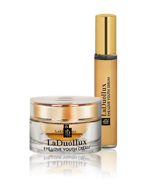 Крем и сыворотка для зоны вокруг глаз с пептидами, волюфилином и золотом LaDuollux Eye Love Youth Cream and Serum