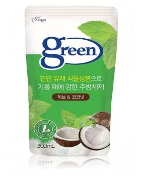 Средство для мытья посуды Pigeon Green Herb & Coconut 300мл мягкая упаковка