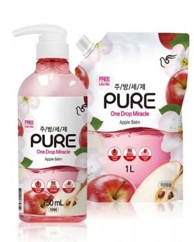 Засіб для миття посуду Pigeon Pure One Drop Miracle Apple Balm 750мл + 1л