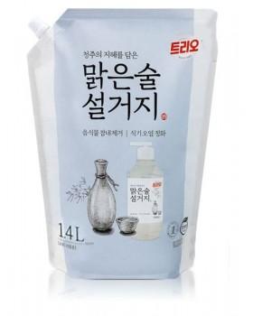 Средство для мытья посуды Trio Clear Drinking Fermented Sake 1.4л  мягкая упаковка