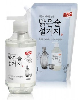 Средство для мытья посуды Trio Clear Drinking Fermented Sake 550мл + 1.4л