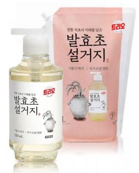 Средство для мытья посуды Trio Fermented Vinegar 550мл + 1.4л