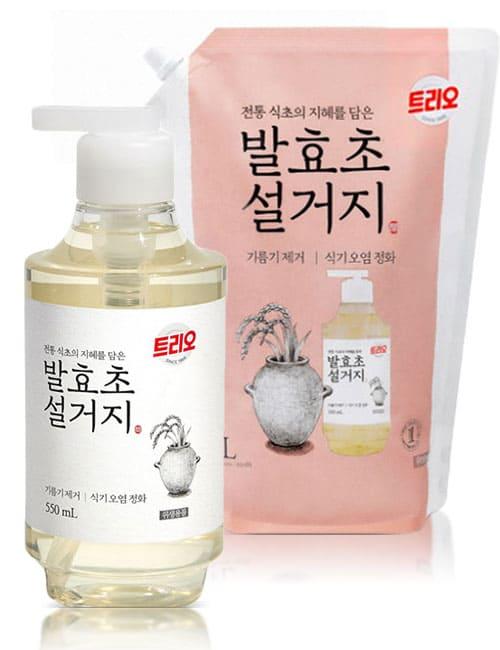 Засіб для миття посуду Trio Fermented Vinegar 550мл + 1.4л