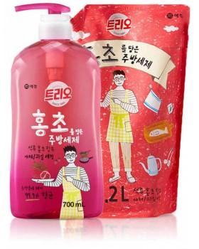 Набор для мытья посуды Trio Red Vinegar Pomegranate 700мл + запаска