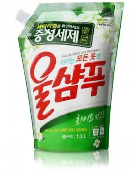 Жидкий стиральный порошок Wool Shampoo White Jasmin 1.3л мягкая упаковка