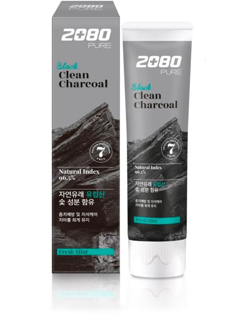 Зубная паста 2080 Pure Black Clean Charcoal Toothpaste 120г